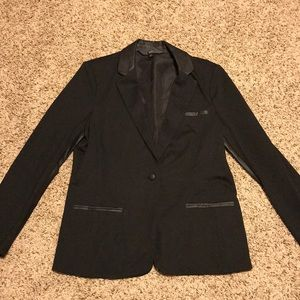 Mossimo Black Blazer w/ Faux Leather. Size XL.